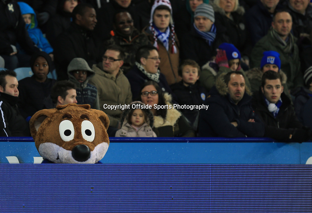 3 January 2015 - The FA Cup 3rd Round - Leicester City v Newcastle United - The Leicester City mascot, Filbert Fox peers over the advertising boards - Photo: Marc Atkins / Offside.
