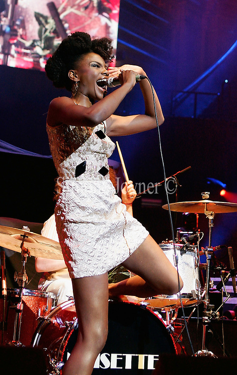 Vocalist Shingai Shoniwa of the Noisettes performs live on stage during the third night of a series of concerts and events in aid of Teenage Cancer Trust organised by charity Patron Roger Daltrey at The Royal Albert Hall on March 26, 2009 in London, England.  (Photo by Simone Joyner)