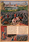 Battle during the First Crusade (The People's Crusade) 1096-1099. Mounted knights are unhorsed and killed, foreground. In centre is a melee of hand-to-hand fighting with, on left, man wielding a two-sided battleaxe or bipennis. In background reinforcements are streaming out of city gates. Inset bottom left,  Peter the Hermit (c1050-1115) pleads for help from the Byzantine Emperor Alexis I (1048-1118)? From 'Passages fait d'outremer' (Journeys to Palestine) illuminated by Sebastian Marmoret (c1490). Manuscript. Bibliotheque Nationale, Paris.