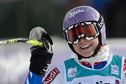 09.12.2012, Engiadina Rennstrecke, St. Moritz, SUI, FIS Ski Alpin Weltcup, Riesenslalom, Damen, 2. Lauf, im Bild Tessa Worley (FRA) jubelt im Ziel reacts // after her 2nd run of ladies Super G of FIS ski alpine world cup at the Engiadina course, St. Moritz, Switzerland on 2012/12/09. EXPA Pictures © 2012, PhotoCredit: EXPA/ Freshfocus/ Andreas Meier..***** ATTENTION - for AUT, SLO, CRO, SRB, BIH only *****