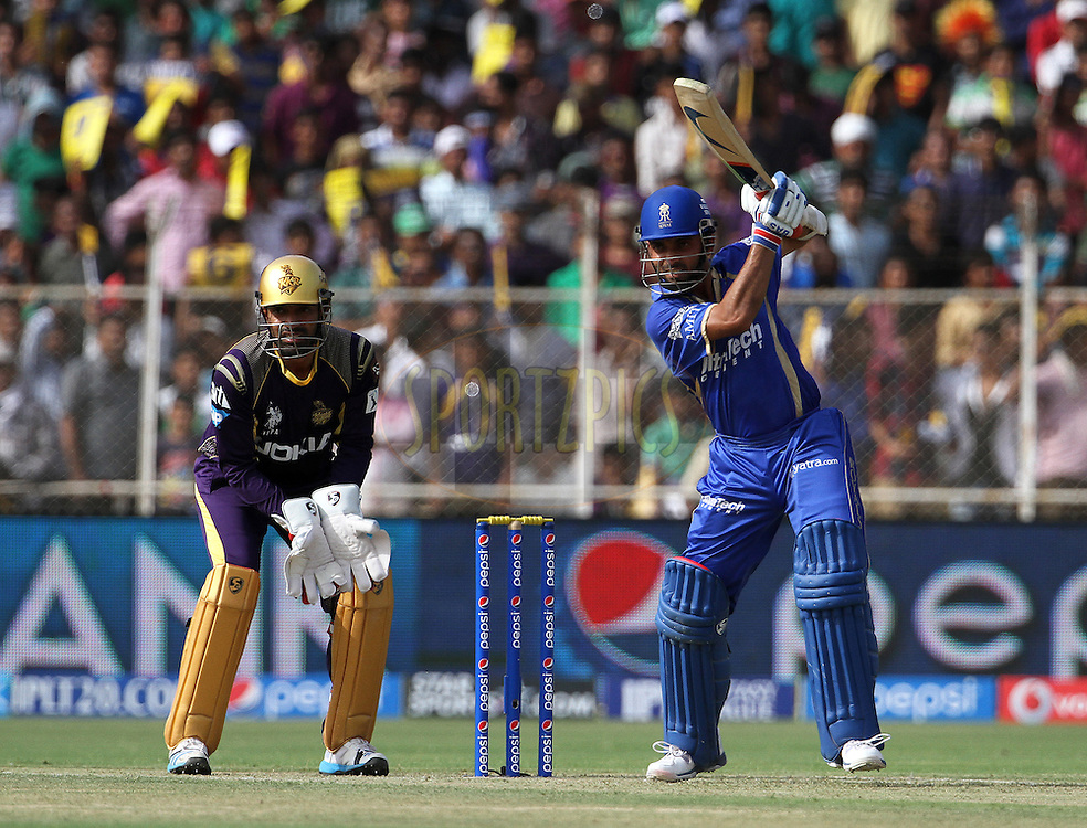 Ajinkya Rahane of the Rajasthan Royals plays a shot during match 25 of the Pepsi Indian Premier League Season 2014 between the Rajasthan Royals and the Kolkata Knight Riders held at the Sardar Patel Stadium, Ahmedabad, India on the 5th May  2014<br /> <br /> Photo by Vipin Pawar / IPL / SPORTZPICS      <br /> <br /> <br /> <br /> Image use subject to terms and conditions which can be found here:  http://sportzpics.photoshelter.com/gallery/Pepsi-IPL-Image-terms-and-conditions/G00004VW1IVJ.gB0/C0000TScjhBM6ikg