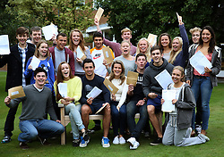 © Licensed to London News Pictures.15/08/2013. Solihull, West Midlands, UK. Solihull School A Level Results. Pictured, Students celebrate their A level achievements. Photo credit : Dave Warren/LNP