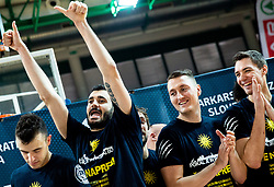 Marko Jagodic Kuridza of Sixt Primorska, Jakob Cebasek of Sixt Primorska celebrate after winning during basketball match between KK Sixt Primorska and KK Hopsi Polzela in final of Spar Cup 2018/19, on February 17, 2019 in Arena Bonifika, Koper / Capodistria, Slovenia. KK Sixt Primorska became Slovenian Cup Champion 2019. Photo by Vid Ponikvar / Sportida