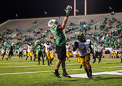 Nov 25, 2017; Huntington, WV, USA; Marshall Thundering Herd tight end Ryan Yurachek (85) catches a touchdown pass late in the fourth quarter against the Southern Miss Golden Eagles at Joan C. Edwards Stadium. Mandatory Credit: Ben Queen-USA TODAY Sports
