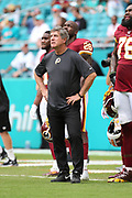 Sunday, October 13, 2019; Miami Gardens, FL USA;  Washington Redskins head coach Bill Callahan during pregame warmups prior to an NFL game against the Dolphins at Hard Rock Stadium. The Redskins beat the Dolphins 17-16. (Kim Hukari/Image of Sport)