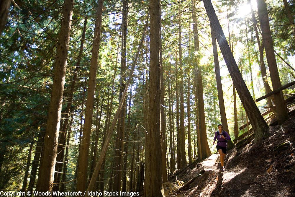 Suzanne Waldrup trail running at Mineral Point near Sandpoint, Idaho.