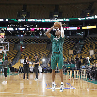 01 June 2012: Boston Celtics shooting guard Ray Allen (20) warms up prior to Game 3 of the Eastern Conference Finals playoff series, Heat vs Celtics at the TD Banknorth Garden, Boston, Massachusetts, USA.