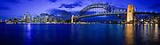 Sydney Harbour landscape featuring (LtoR) Sydney Opera House, CBD, Sydney Harbour Bridge. Photographed from Kirribilli