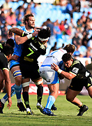 RG Snyman, of the Vodacom Bulls , Ardie Savea, of the Hurricanes , Pierre Schoeman, of the Vodacom Bulls, Ricky Ricctelli, of the Hurricanes during the 2018 Super Rugby game between the Bulls and the Hurricanes at Loftus Versveld, Pretoria on 24 February 2018.<br /> Copyright photo: Catherine Kotze / BackpagePix / www.photosport.nz