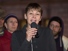 OCT 22 2014 MP Caroline Lucas in a demonstration at Parliament Sq.