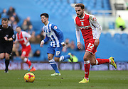 Birmingham City's Andrew Shinnie on the ball during the Sky Bet Championship match between Brighton and Hove Albion and Birmingham City at the American Express Community Stadium, Brighton and Hove, England on 21 February 2015. Photo by Phil Duncan.