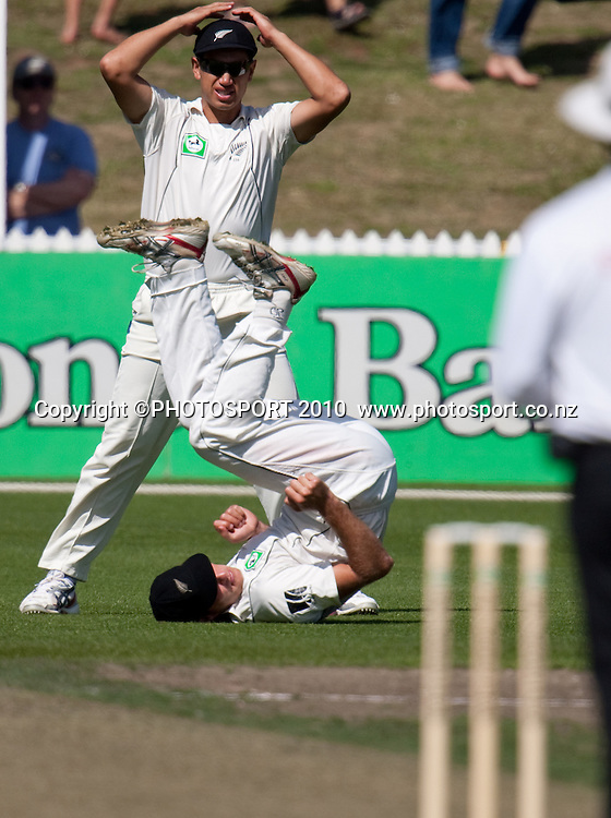 misses the ball diving through the air during day one of the 2nd cricket test match between NZ Black Caps and Australia, at Seddon Park, Hamilton, 27 March 2010. Photo: Stephen Barker/PHOTOSPORT