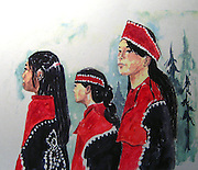 Native Girls. Watercolor. ©JoAnn Hawkins