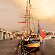 Oosterschelde sits quietly at dock ahead of the Parade of Sails, Tall Ships Festival 2013, Hobart, Tasmania, Australia