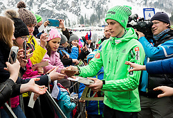 Peter Prevc (SLO) with fans during the Ski Flying Hill Individual Competition at Day 1 of FIS Ski Jumping World Cup Final 2016, on March 17, 2016 in Planica, Slovenia. Photo by Vid Ponikvar / Sportida