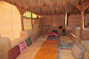 The living area The ecological village of Tzukim, Israel, Aravah,  All construction material are environmental friendly such as wood and mud. waste water and garbage are reused for irrigation and compost