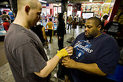 Gleason's Gym, Dumbo, Brooklyn, New York.Golden Glove Boxer Adam Kownacky (20) 235 pounds (left) with trainer...
