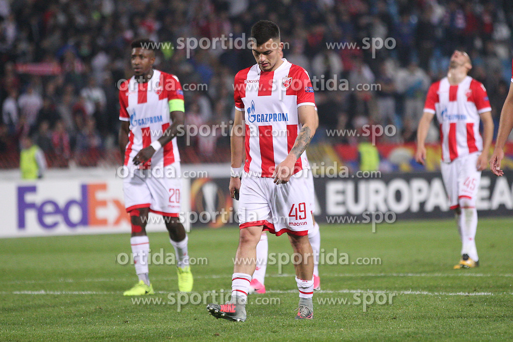 Nemanja Radonjic of Crvena Zvezda after the football match between NK Crvena Zvezda Beograd and Arsenal FC in Group H of UEFA Europa League 2017/18, on October 19, 2017 in Stadion Rajko Mitic, Belgrade, Serbia. Photo by Marko Metlas / Sportida