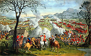 Battle of Culloden 16 April 1746, last battle of 1745 Jacobite rising under Charles Edward Stuart, the Young Pretender. English under William, Duke of Cumberland crushed Scots in 40 minutes.  Cumberland, third son of George II,  criticised for his brutality. 18th century hand-coloured copperplate engraving.