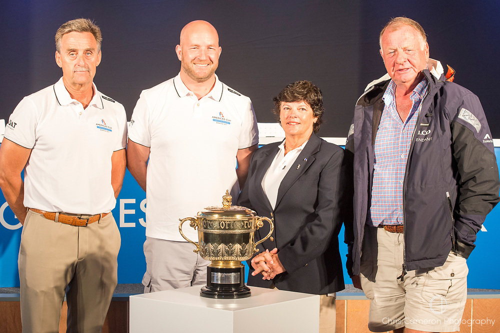 America's Cup Village, Bermuda. 11th June 2017. America's Cup Superyacht Regatta press conference..(L to R) Peter Craig, Principle Race officer, Darryl McLennan Fordyce, Boat International Media, Leatrice Oatley, Royal Bermuda Yacht Club. and The Hon. Mike J Winfield JP, ACBDA.