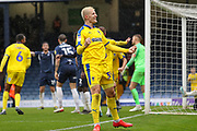 AFC Wimbledon striker Joe Pigott (39) celebrates goal during the EFL Sky Bet League 1 match between Southend United and AFC Wimbledon at Roots Hall, Southend, England on 12 October 2019.