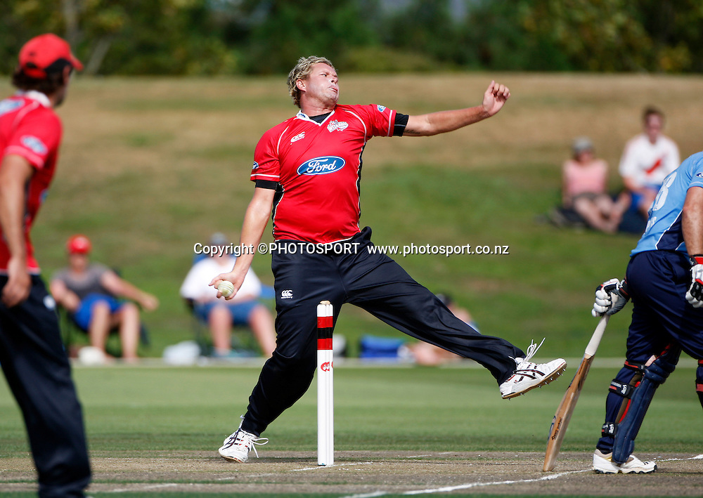 Canterbury bowler Mitchell Claydon. Canterbury Wizards v Auckland Aces in the One Day Competition, Preliminary Semi Final. QEII Park, Christchurch, New Zealand. Sunday, 06 February 2011. Joseph Johnson / PHOTOSPORT.