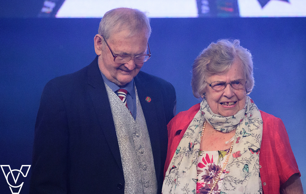George and Doreen Ashton onstage after receiving their Lifetime Achievement Award<br /> <br /> Lincoln City Football Club's 2016/17 End of Season Awards night - Champions Seasons Awards Dinner - held at the Lincolnshire Showground.<br /> <br /> Picture: Andrew Vaughan for Lincoln City Football Club<br /> Date: May 20, 2017 Champions Seasons Awards Dinner:
