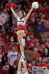 22 February 2017:  Redbird Cheerleaders during a College MVC (Missouri Valley conference) mens basketball game between the Southern Illinois Salukis and Illinois State Redbirds in  Redbird Arena, Normal IL