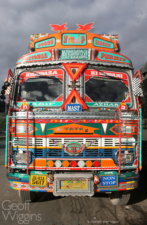 Front view of highly decorated Tata truck on the road to Leh in the Himalayas Ladakh, northern India