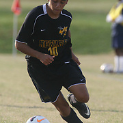 Newark FC Forward Diego Guzman (10) dribblesthe ball up the field during a regular season soccer match between Newark and Delcastle Thursday, Oct. 22, 2015 at Delcastle in Wilmington.