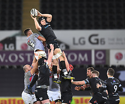 Ospreys' James King<br /> <br /> Photographer Mike Jones/Replay Images<br /> <br /> Guinness PRO14 Round Round 15 - Ospreys v Southern Kings - Friday 16th February 2018 - Liberty Stadium - Swansea<br /> <br /> World Copyright © Replay Images . All rights reserved. info@replayimages.co.uk - http://replayimages.co.uk