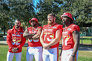 Jan 25, 2019; Kissimmee, FL, USA; Baltimore Ravens free safety Eric Wheddle (32) inside linebacker C.J. Mosley (57) guard Marshall Yanda (73) and defensive tackle Brandon Williams (98) after the NFC team photo during for the 2019 Pro Bowl at ESPN Wide World of Sports Complex. (Kim Hukari/Image of Sport)