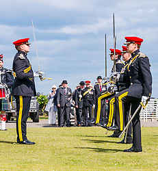 Pictured: Yeomanry receive Freedom of East Lothian, Dunbar, East Lothian, Scotland, United Kingdom, 06 July 2019. The historic Lothians and Border regiment is granted Freedom of East Lothian by Councillor Jim Goodfellow, East Lothian Council's Armed Forces Champion, which is accepted by Major S J Vine. The Yeomanry's links with the county date back to 1797.<br /> <br /> Sally Anderson | EdinburghElitemedia.co.uk