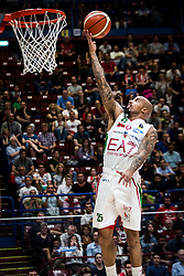 April 29, 2018 - Milan, Milan, Italy - Jordan Theodore (#25 EA7 Emporio Armani Milano) shoots a layup during a basketball game of Poste Mobile Lega Basket A between  EA7 Emporio Armani Milano vs VL Pesaro at Mediolanum Forum, in Milan, Italy, on April 29, 2018. (Credit Image: © Roberto Finizio/NurPhoto via ZUMA Press)
