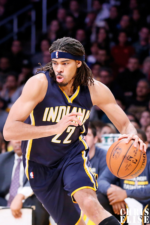 04 January 2014: Indiana Pacers forward Chris Copeland (22) dribbles during the Los Angeles Lakers 88-87 victory over the Indiana Pacers, at the Staples Center, Los Angeles, California, USA.