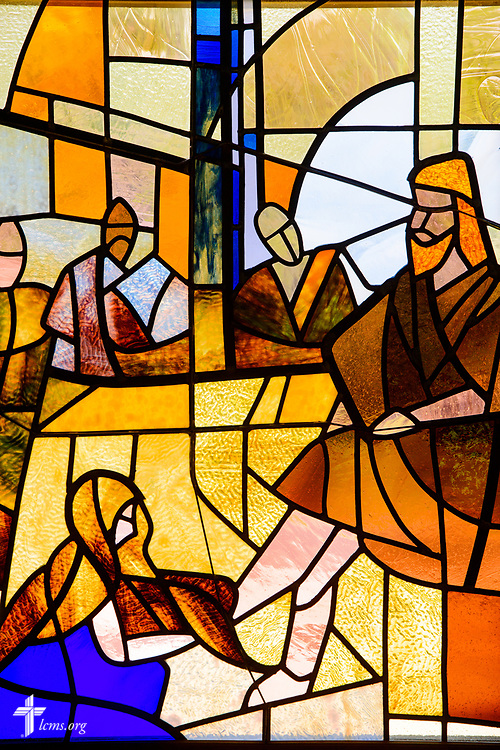 Stained glass depicting the woman washing the feet of Jesus Christ at Lutheran Church of St. John, Quincy, Ill., on Sunday, June 11, 2017. LCMS Communications/Erik M. Lunsford
