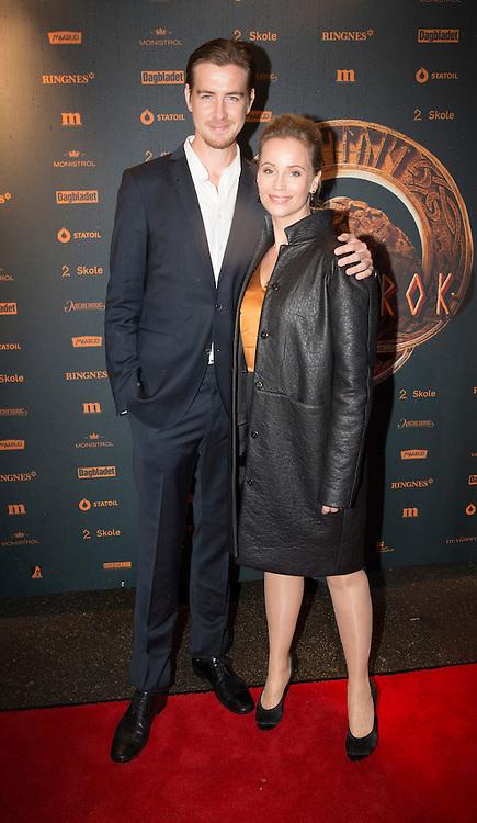 OSLO, 20131004:  Premiere p&aring; filmed &quot;G&aring;ten Ragnarok&quot;, med kjendispremiere p&aring; Colosseum kino. Avbildet er Sofia Helin og P&aring;l Sverre Hagen.  <br /> PHOTO by;  TOM HANSEN