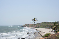 High angle view of Vagator beach, Goa, India