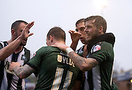 Goalscorer Graham Carey of Plymouth Argyle (right) celebrates with team-mates after he made it 2-0 to their team during the Sky Bet League 2 match at Bootham Crescent, York<br /> Picture by Russell Hart/Focus Images Ltd 07791 688 420<br /> 14/11/2015