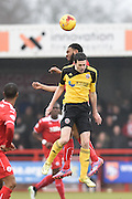 Gavin Tomlin fights for the ball with Jamie Murphy during the Sky Bet League 1 match between Crawley Town and Sheffield Utd at Broadfield Stadium, Crawley, England on 28 February 2015. Photo by David Charbit.