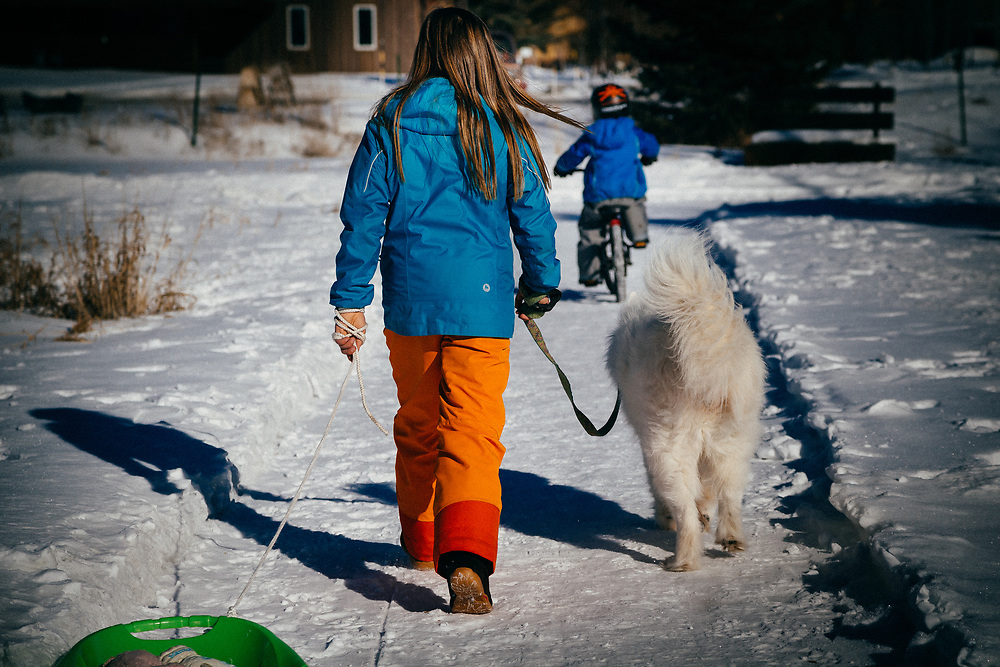 Jade and Micah Goodrich walk home from the park with her sled and Samoyed in tow.