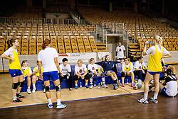 Practice session of Slovenian Women handball National Team three days before match against Serbia, on October 24, 2013 in Arena Tivoli, Ljubljana, Slovenia. (Photo by Vid Ponikvar / Sportida)