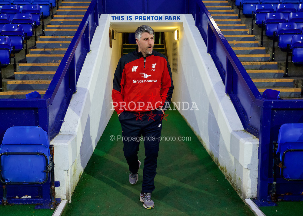 BIRKENHEAD, ENGLAND - Friday, March 11, 2016: Liverpool's Under-21 coach Mike Garrity arrives before the Under-21 FA Premier League match against Manchester United at Prenton Park. (Pic by David Rawcliffe/Propaganda)