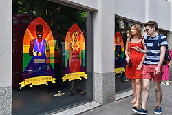 © Licensed to London News Pictures. 07/07/2017. London, UK. Images of (L to R) Boxer Nicola Adams, actress Laverne Cox, are unveiled by Mr President, a Soho advertising agency, as a tribute to modern icons of tolerance and acceptance, to support the LGBT community, ahead of the annual Pride parade tomorrow.   Photo credit : Stephen Chung/LNP