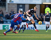 20th January 2018, Dens Park, Dundee, Scotland; Scottish Cup fourth round, Dundee versus Inverness Caledonian Thistle; Dundee's A-Jay Leitch-Smith take son Inverness Caledonian Thistle's Coll Donaldson