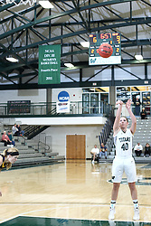 12 December 2015:  Ashley Schneider shoot from the free line during an NCAA women's basketball game between the Wisconsin Stevens Point Pointers and the Illinois Wesleyan Titans in Shirk Center, Bloomington IL