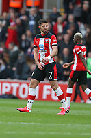 Football - 2019 / 2020 Premier League - Southampton vs. Aston Villa<br /> <br /> Southampton's Shane Long confirms to Douglas Luiz of Aston Villa which part of his anatomy touched the ball last before scoring at St Mary's Stadium Southampton<br /> <br /> COLORSPORT/SHAUN BOGGUST