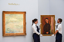 "© Licensed to London News Pictures. 14/06/2019. LONDON, UK.  (L to R) ""Nymphéas"", 1908, by Claude Monet (Est. £25-30m) and ""Jeune Homme Assis, Les Mains Croisées sure les Genoux"", 1918, by Amedeo Modigliani (Est. £16-24m). Preview of Impressionist and Modern art sales, which will take place at Sotheby's New Bond Street on 18 and 19 June 2019.  Photo credit: Stephen Chung/LNP"