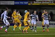 Forest Green Rovers Midfielder, Marcus Kelly (10) on the edge of the box during the Vanarama National League match between Sutton United and Forest Green Rovers at Gander Green Lane, Sutton, United Kingdom on 14 March 2017. Photo by Adam Rivers.