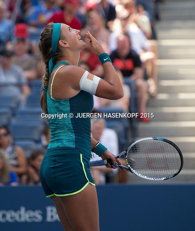 Victoria Azarenka (BLR)jubelt nach ihrem Sieg,Jubel,Emotion,<br /> <br /> <br /> Tennis - US Open 2015 - Grand Slam ITF / ATP / WTA -  Flushing Meadows - New York - New York - USA  - 7 September 2015.